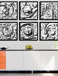 Black and White Totem Fantasy Framed Canvas Print Set of  6