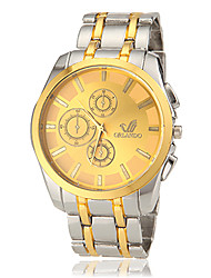 Men's Round Dial Steel Band Quartz Wrist Watch (Assorted Colors)