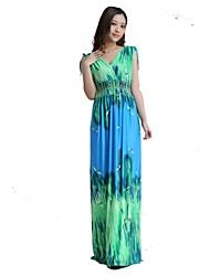 Mujeres bohemio maxi más el tamaño de vestido de seda del hielo