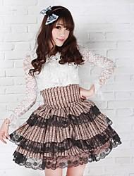 Kawaii Schoolgirl High Waisted Three Tier Chocolate Polyester Sweet Lolita Skirt