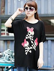 Women's High Quality Print  Loose Big Yards Short Sleeve T-Shirt Modal Stretch Loose Big Yards Skull T-Shirt