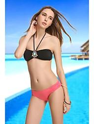De VBM Marca Para Mujer Negro Fashion Diamond Crystal Bandeau Bikini Swimwear Natación Trajes de Biquini