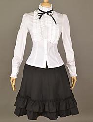 Colegiala manga larga Negro y blanco de algodón dulce lolita Traje