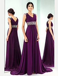 Formal Evening Dress - Grape Plus Sizes / Petite A-line V-neck Sweep/Brush Train Chiffon