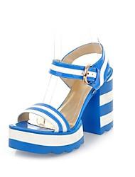 Kunstleder Damen Blockabsatz Sandalette mit Schnallenschuhe (weitere Farben)