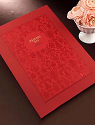 rouge floral livre d'or avec couverture en relief (5 pages) signe dans le livre