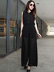 Noble donna senza maniche a pieghe in chiffon a vita alta pantaloni a gamba larga Pantaloni