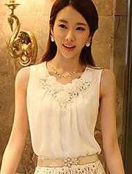 Tops coreano Sleevless Flores Chiffon das Jiuyi Mulheres (branco)