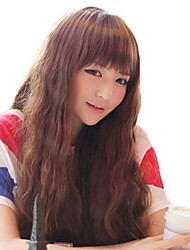 Corn Roll Capless Light Brown Full Bang Synthetic Stylish Girls Long Wavy Wigs