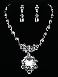 Fashion Mirror Diamond Jewelry Set(Necklace,Earrings)