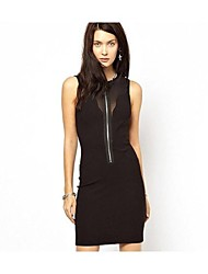 Frauen Sexy Stitching Zipper Sleeveless Halter Dress
