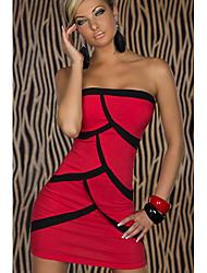 YSM Mujer atractiva del hombro Modelo Rojo Especial vaina Vestido ajustado