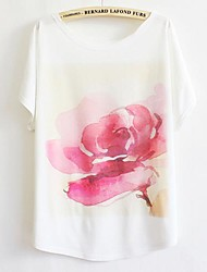 Damen Druck Einfach Lässig/Alltäglich T-shirt,Rundhalsausschnitt Sommer Kurzarm Weiß Baumwolle Dünn