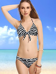 Women's Halter Bikinis , Animal Push-up Nylon/Spandex Animal Print