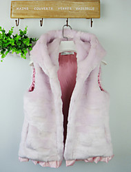 Fur Vest With Sleeveless Hooded In Faux Fur Party/Casual Vest (More Colors)