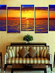 Canvas Art LandscapeSea Pôr do conjunto de 5