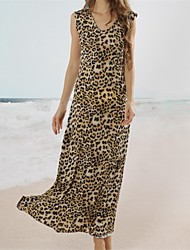 Women's Beach Leopard Loose Dress , Round Neck Knee-length Polyester / Spandex / Lycra