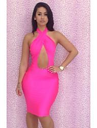 Женская Экспорт Горячие Продажа Сексуальная Повесьте над шеи Bodycon платье