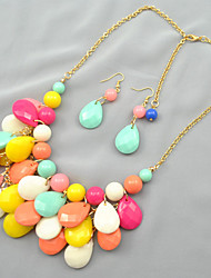 Putizi Seaside Droplets Earrings And Necklace Set (Multi-Color)