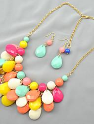 Putizi Seaside Droplets Earrings And Necklace Set (Multi-Color)
