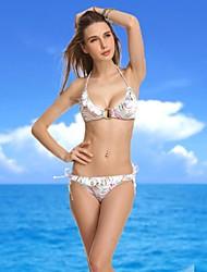 Women's Halter Bikinis , Floral/Ruffle Push-up Nylon/Spandex White