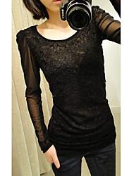 Jiuyi Frauen koreanische Spitze Splice Mesh-Puff-T-Shirt (schwarz)