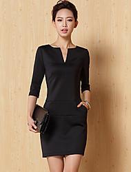 Mujeres Jiuyi atractivo color sólido medio vestir de manga Slim (Negro)