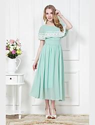 Magro Chiffon Vestido Vintage da Mulher