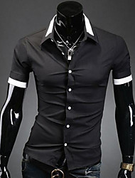 Men's Personality Neck Opening Casual Short Sleeve Shirt