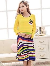 Maternité manches chauve-souris rayures colorées Suit (T-shirt et robe)