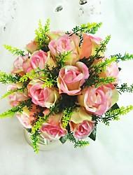 Fancy Round Satin Rose Wedding Bouquet
