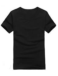 Herren T-shirt-Einfarbig Freizeit Baumwollmischung Kurz-Schwarz / Blau / Grün / Rot / Weiß / Beige / Sandfarben / Grau