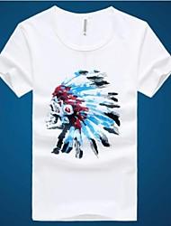 Tee-Shirt Pour des hommes A Motifs Décontracté / Travail / Sport Manches Courtes Coton / Autres Blanc / Jaune / Gris