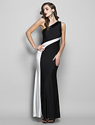 Prom / Formal Evening / Military Ball / Black Tie Gala Dress - Elegant Sheath / Column One Shoulder Floor-length Jersey with Beading