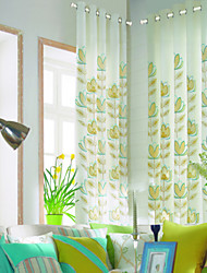(Two Panels) Modern Minimalism Abstract Colorful Leaves All-over Energy Saving Curtain