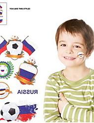 Motif 2PCS Football Coupe du Monde de la Russie étanche Body Tattoo temporaire Glitter autocollants
