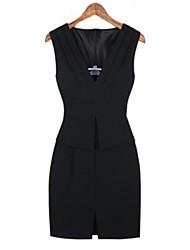 Women's Mini Dress , Polyester Black/Pink Bodycon
