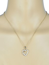 Stone Set Double Heart Pendant Necklace