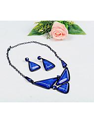 Fieer Europa Elegante Achat-Ohrringe und Halskette (Rot, Grün, Blau, Lila, Schwarz, Braun)
