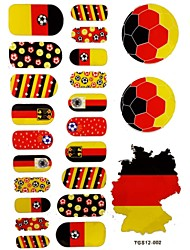 2PCS 20 Germany World Cup Football Pattern Nail Art Stickers&3 Temporary Tattoo