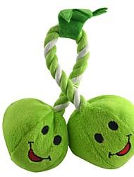 Doppel Green Peas weiches Plüsch-Spielzeug mit Seil Chewing Ring für Haustiere Hunde Katzen