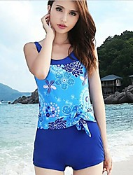 Women's Conjoined  Flower Pattern Style Nylon and Spandex One-Piece Swimsuit