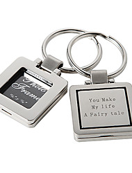 Personalized Square Photo Frame Zinc Alloy Keychain - Set of 4