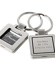 Porte-clés en alliage de zinc personnalisé Frame Photo carrée - Ensemble de 4