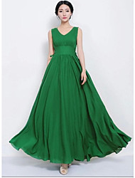 Women's Vintage Dress,Solid Maxi Green Summer