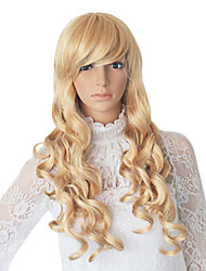 Long Blonde Synthetic Wavy Wig Side Bang