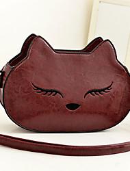Ruili Women's Cute Wine Korea Kitty Shape Portable PU Leather Shoulder Bags
