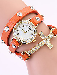 Koshi 2014 Vintage Croix Diamonade en cuir 3 ronde de Women Watch (Orange)