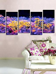 Stretched Canvas Art Butterflies Are Flitting From Flower to Flower.  Set of 5