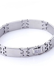 Personalized Gift Wall Pattern Jewelry Stainless Steel  Engraved ID Bracelets 1.2cm Width
